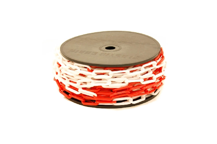 Image of Red and white plastic chain