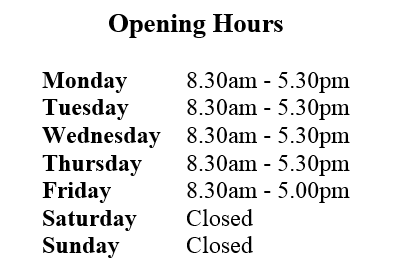 Media Library - chain & Rope Opening hours